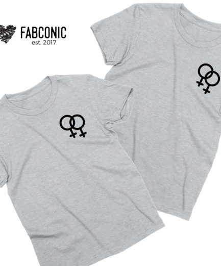 Female Gender Signs Shirts, Female/Female, Matching Couple Shirts