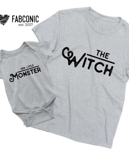 Funny Mommy Kid Halloween Shirts, The Witch, Her Little Monster