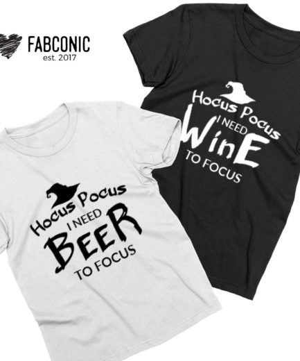 Funny Halloween Couple Shirts, Hocus Pocus I need Beer I need Wine