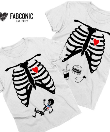 Matching Halloween Pregnancy Shirts, Baby Boy, Skeleton Maternity Shirts