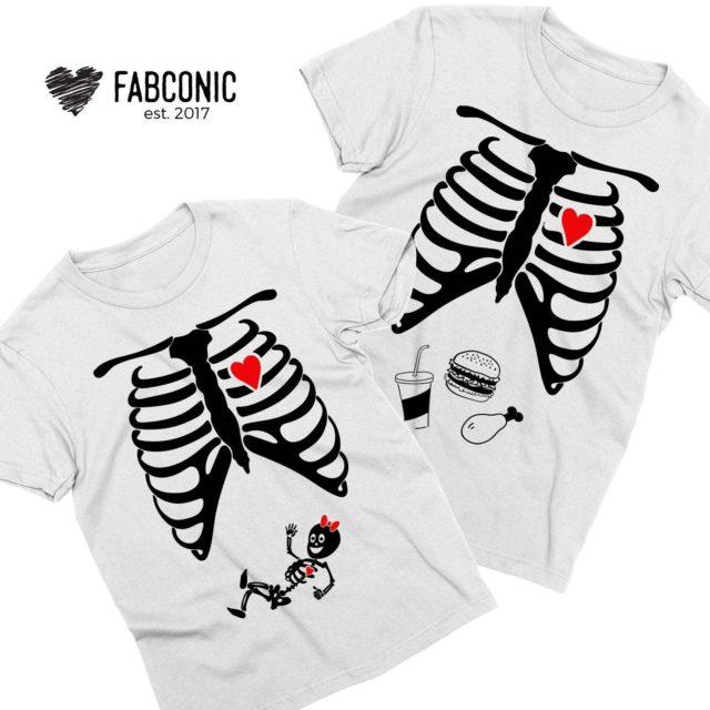 Maternity Couple Shirts, Baby Girl, Skeleton Shirts, Halloween Family Shirts