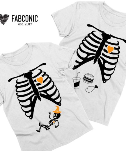 Maternity Halloween Shirt, Halloween Hat, Skeleton Maternity Shirts