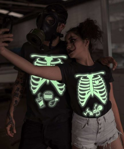 GLOW in the dark Shirt, Maternity Skeleton, Halloween Couple Shirts
