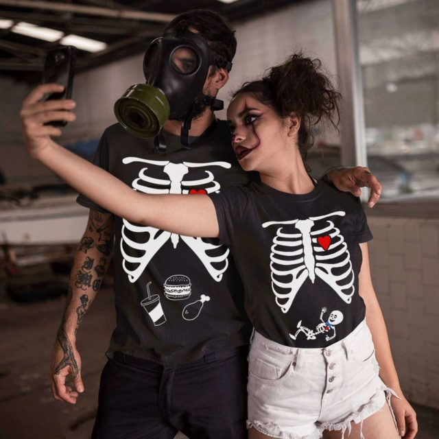 Matching Halloween Pregnancy Shirts, Baby Boy, Skeleton Maternity Shirts