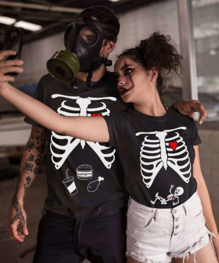 Skeleton Maternity Shirts, Halloween Family Shirts, Matching Halloween Couple
