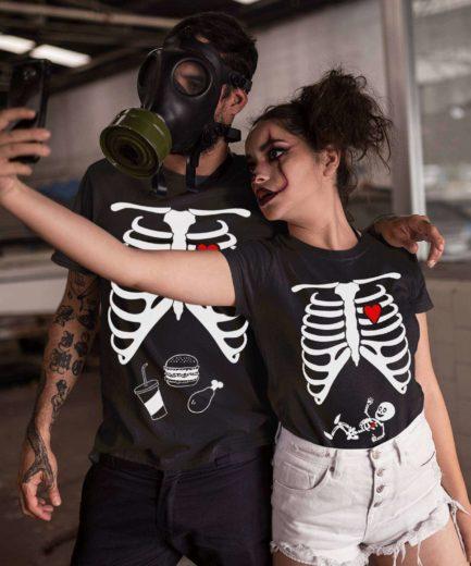 Skeleton Maternity Shirts, Halloween Family Shirts, Matching Halloween Couple