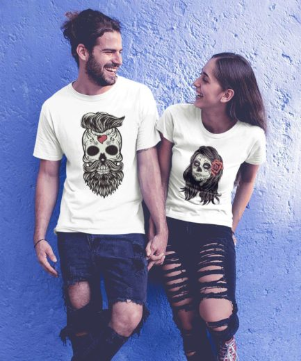 Hipster Skeleton Shirt, Matching Halloween Couple Shirts