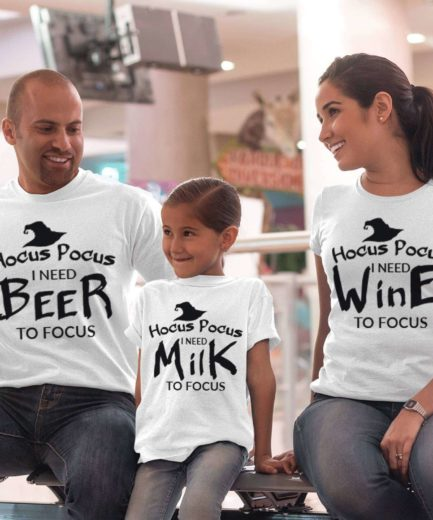 Hocus Pocus Family Shirts, I need Beer Wine Milk, Family Shirts