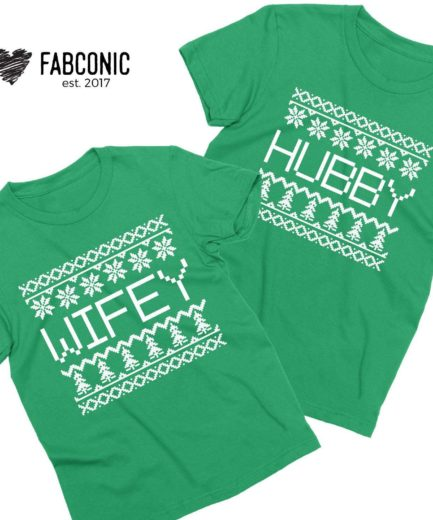 Hubby Wifey Christmas Shirts, Couple Shirts, Matching Christmas Shirts