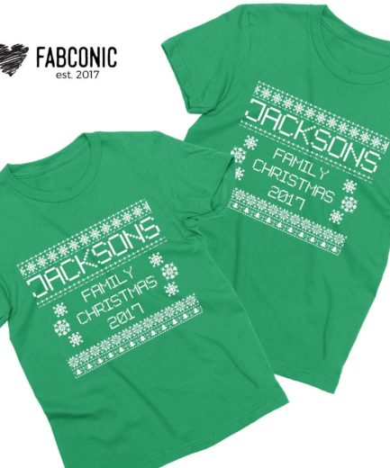 Ugly Christmas Shirts, Custom Name Family Christmas, Family Shirts