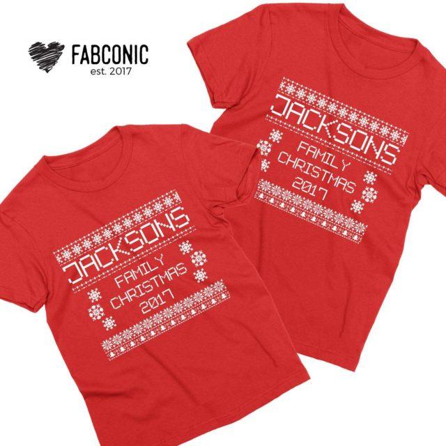 Ugly Christmas Shirts, Custom Name Family Christmas, Family Shirts