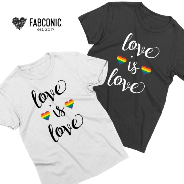 Love is Love Shirts, Heart Rainbow Pattern, Couple Shirts