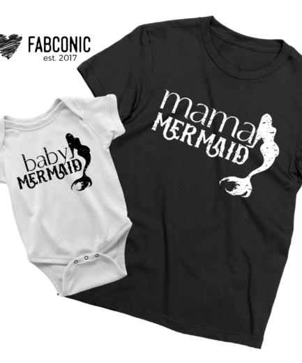 Mama Mermaid Baby Mermaid Shirts, Mommy and Me