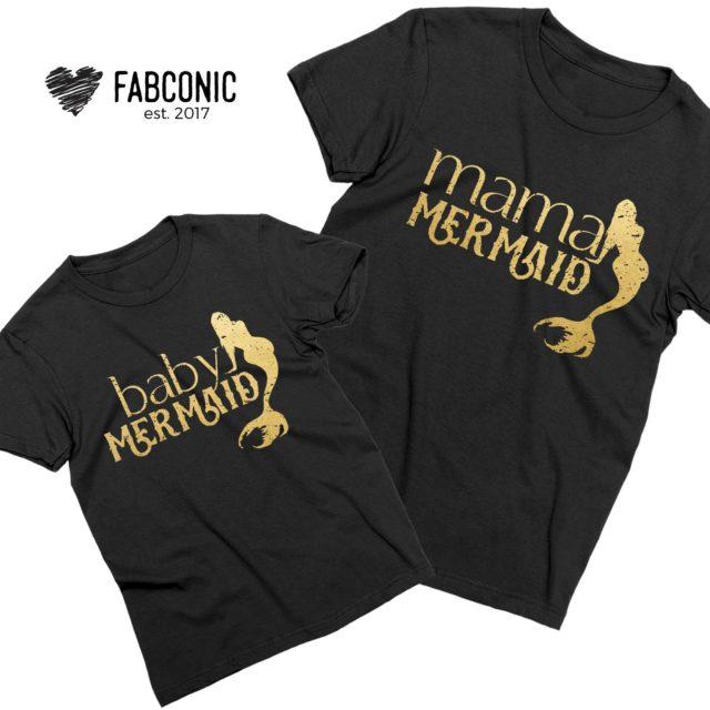 Mama Mermaid Baby Mermaid Shirts, Mommy and Me