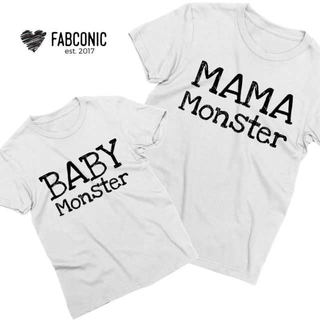 Mama Monster Baby Monster Shirts, Mommy and Me, Mother's Day