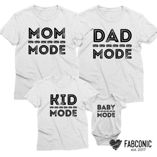 Dad Mode Mom Mode Baby Mode, Mom Dad Baby Family Shirts