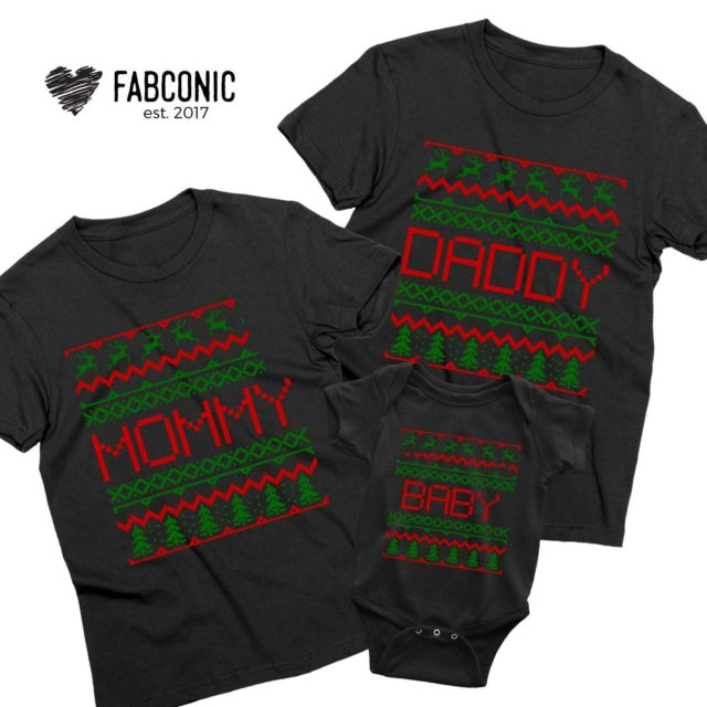 Ugly Christmas Family Shirts, Mommy Daddy Baby, Family Shirts