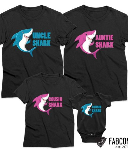 Auntie Shark Gift, Uncle Shark, Baby Shark, Neon, Family Shirts