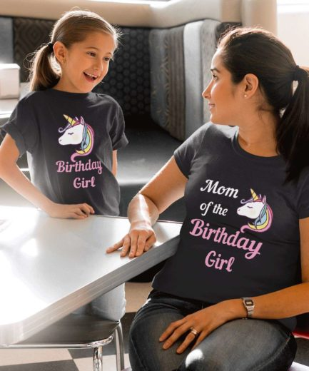 Birthday Girl Family Shirts, Mom of the Birthday Girl, Unicorn, Mother & Daughter Shirts
