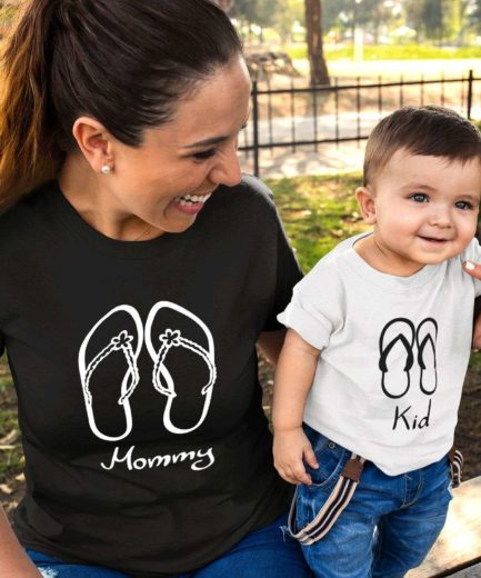 Mommy Baby Beach Shirts, Flip Flops, Mother & Kid Shirts