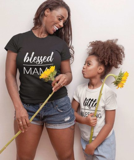 Blessed Mama Little Blessing Shirts, Mother & Kid Shirts