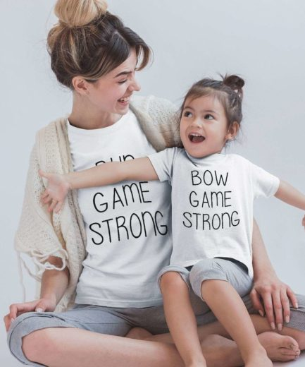 Mommy and Me Shirts, Bun Game Strong, Bow Game Strong, Mother & Daughter Shirts