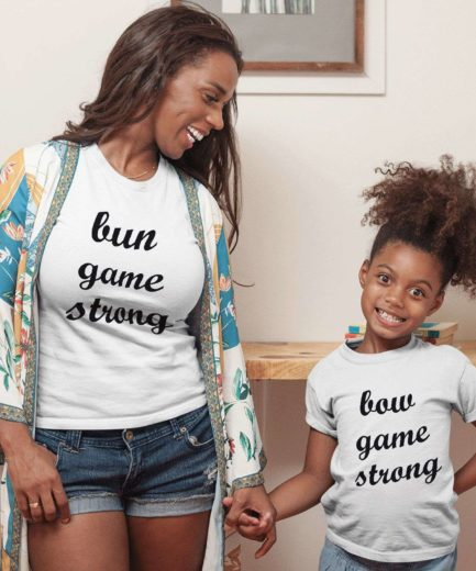 Bun Game Strong Bow Game Strong, Mother & Kid Shirts