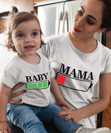 Mommy Baby Battery Shirts, Battery Full, Battery Empty, Mother & Kid Shirts