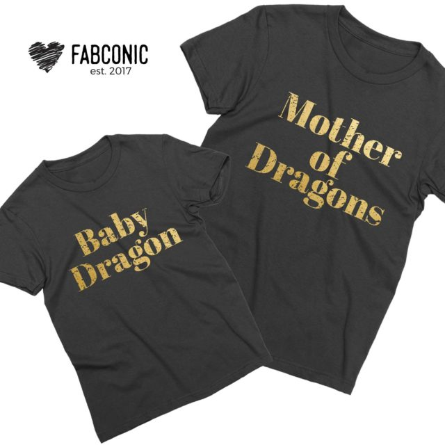 Mother of Dragons Baby Dragon Shirts, Mother & Kid Shirts