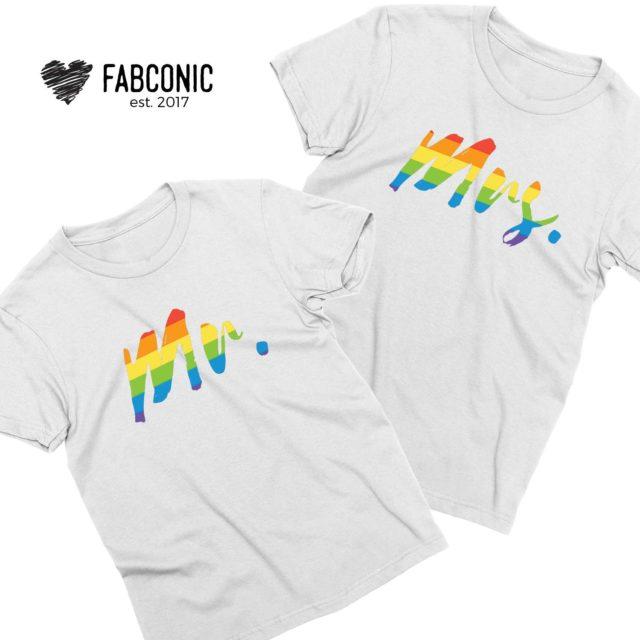 Mr and Mrs Rainbow Shirts, Couple Shirts, Matching Couple Shirts