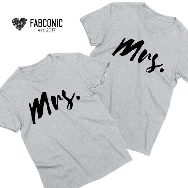 LGBT Couple Shirts, Mrs and Mrs, Couple Shirts