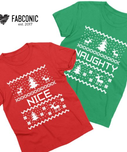 Naughty Nice Christmas Shirts, Christmas Pixels, Couple Shirts