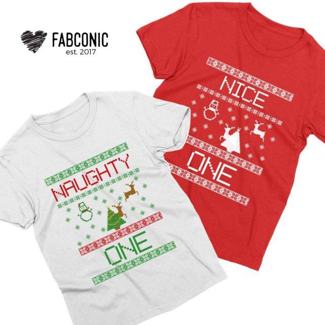 Couple Christmas Shirts, Naughty Nice Couple Shirts, Christmas Gift for Boyfriend