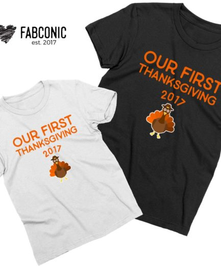 Thanksgiving Family Shirts, Our First Thanksgiving, Custom Year