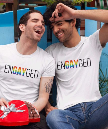 EnGAYged LGBT Pride Shirts, Rainbow Pattern, Couple Shirts