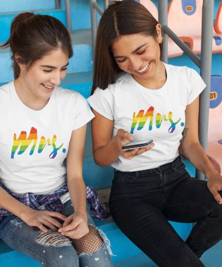 Mrs Mrs Pride Shirts, Rainbow Pattern, Matching LGBT Shirts