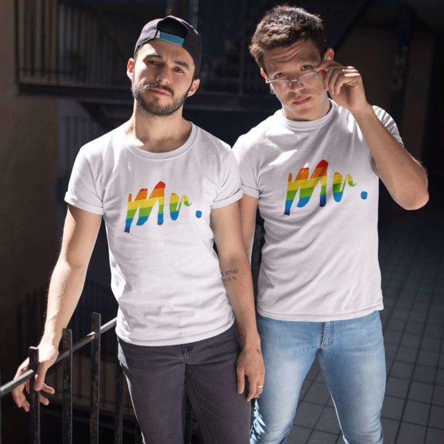 Mr Mr Couple Shirts, Rainbow Pattern, Matching Shirts, Gay Couple Shirts