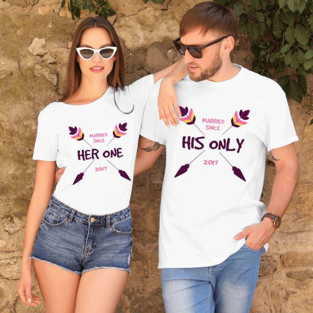 Her One His Only, Married Since, Couple Matching Shirts