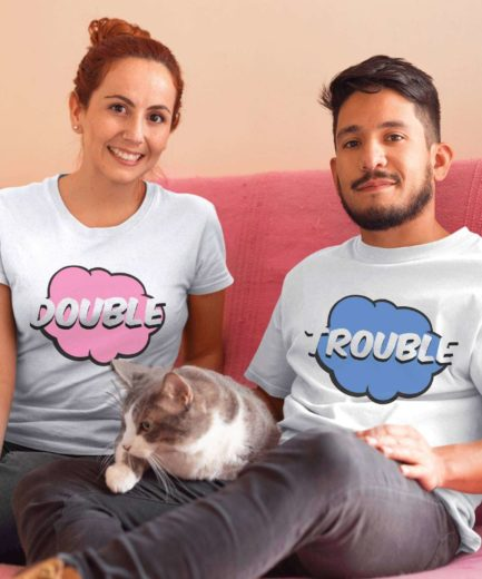Double Trouble Shirts, Comic Style, Couple Matching Shirts