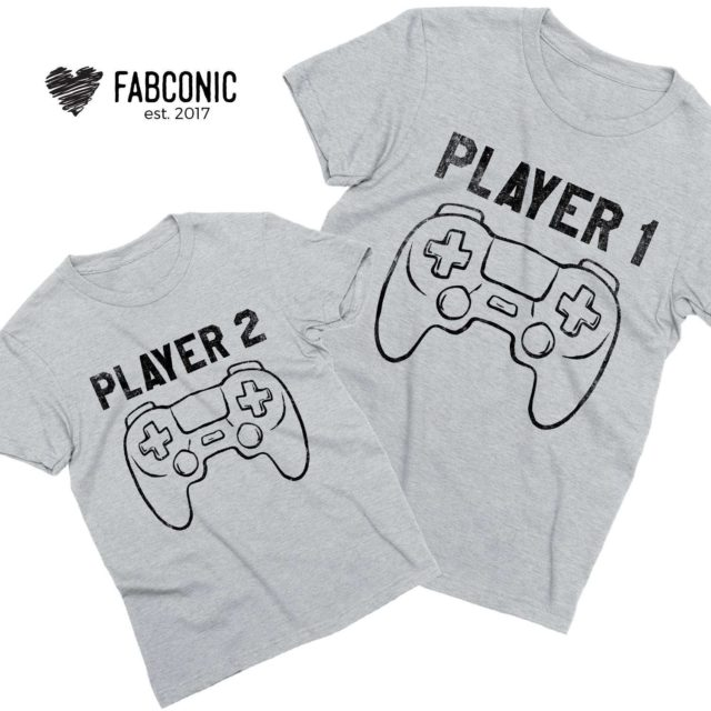 Player 1 Player 2 Shirts, Matching Father's Day Outfit, Father & Kid Shirts