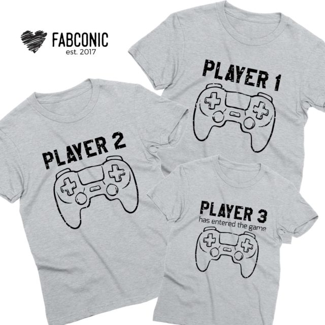 Player 1 Player 2 Shirts, Player 3, Family Matching Shirts