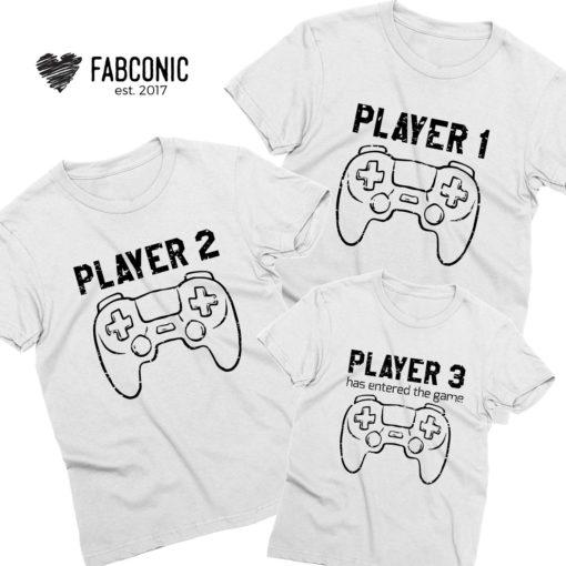 Player 1 Player 2 Shirts, Player 3, Family Matching Shirts