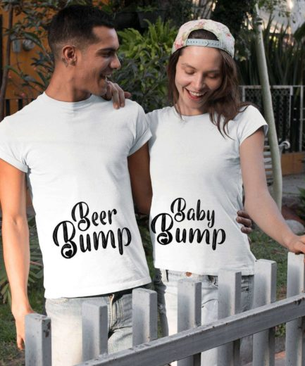 Baby Bump Beer Bump, Couple Shirts, Pregnancy reveal shirts