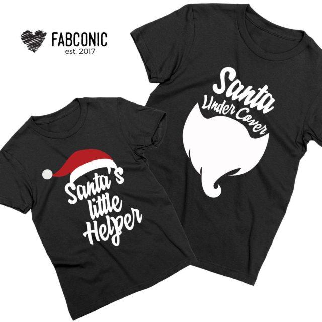 Daddy Baby Christmas Shirts, Santa Under Cover, Santa's Little Helper