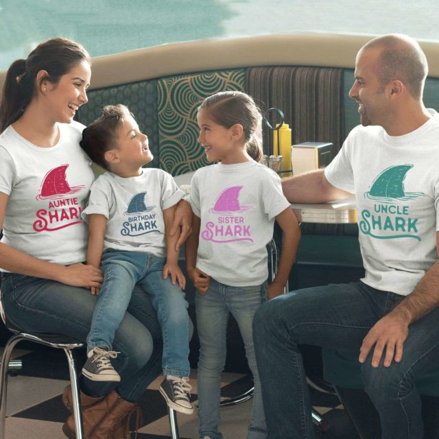 Birthday Shark Aunt Uncle Shark, Pastel Sharks, Family Shirts
