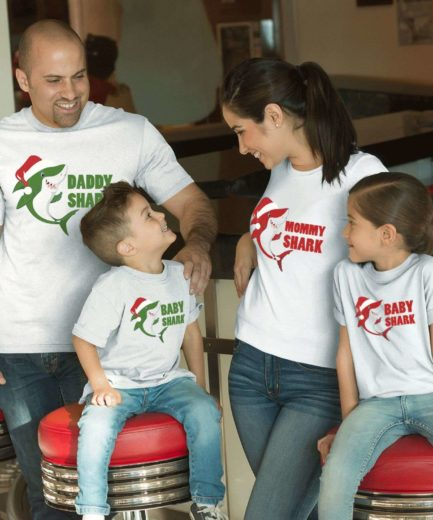 Baby Shark Christmas, Daddy Shark, Mommy Shark, Christmas Family Shirts