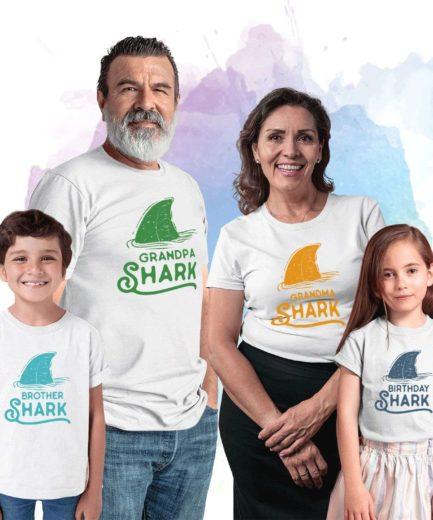 Birthday Shark Grandparents Shirts, Grandpa Shark Grandma Shark, Family Shirts