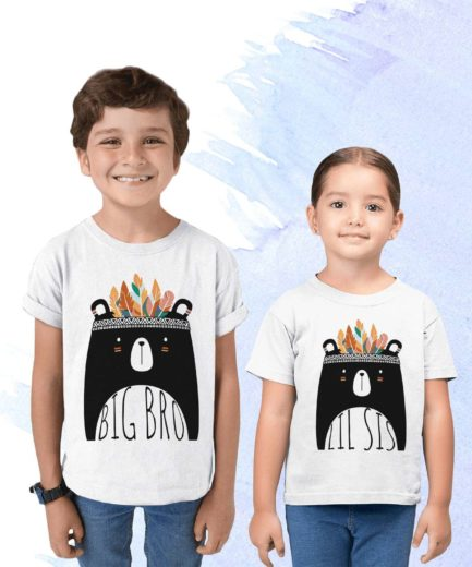 Big Lil Siblings Shirts, Big Bro Lil Sis, Boho Bear, Matching Siblings Shirts