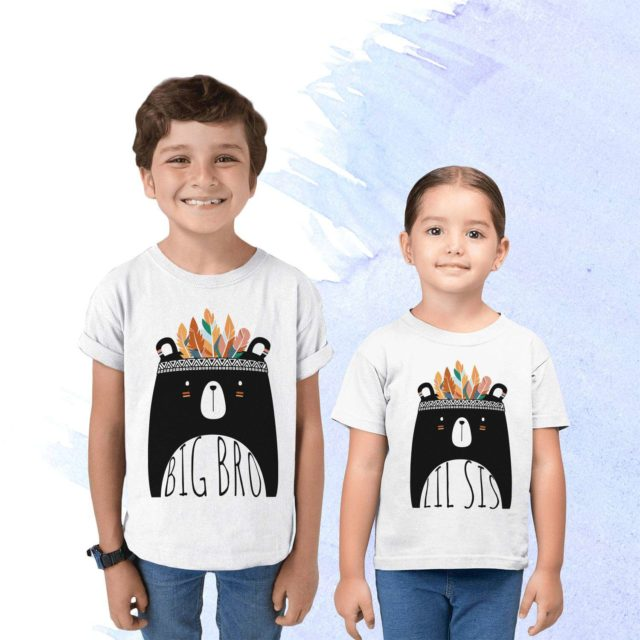 Big Lil Siblings Shirts, Big Bro Lil Sis, Boho Bear, Matching Siblings Shirts