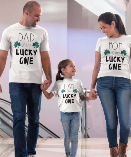 St. Patrick's Day Family Shirts, I am the Lucky One, Mom Dad